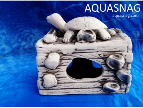 Фото Сундук с черепашкой,  дл 13.5см, шир 8см, выс 12см, серый aquasnag.com