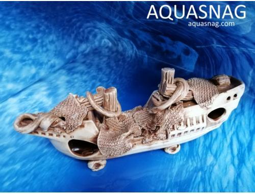 Фото Корабль длинный,  дл 30см, шир 8см, выс 13см, коричневый aquasnag.com