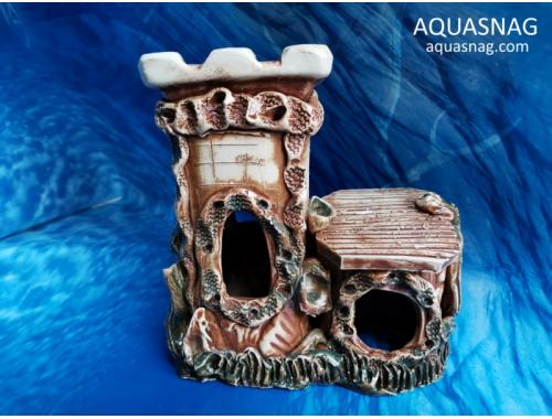 Фото Черепашник с домиком,  дл 19см, шир 10см, выс 19см, коричневый aquasnag.com
