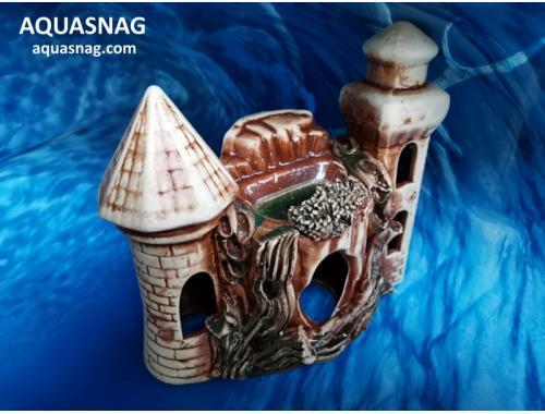Фото Пень c двумя башенками ,  дл 19см, шир 9см, выс 17см, коричневый aquasnag.com