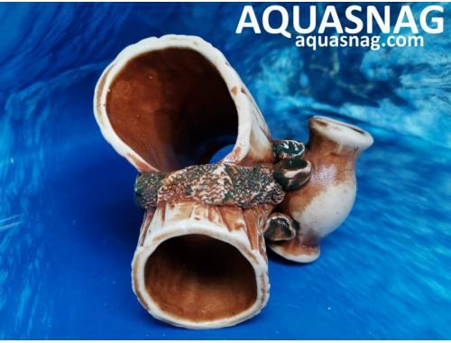 Фото Амфора с  бревном,  дл 12см, шир 11см, выс 11см, коричневые aquasnag.com