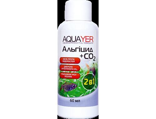 Фото AQUAYER Альгицид+СО2 60мл,  против красных водорослей (черная борода, вьетнамка) и зеленых точечных водорослей aquasnag.com