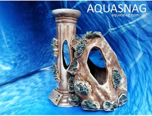Фото Колонна средняя с камнем,  дл 20см, шир 13см,  выс 22см, коричневая aquasnag.com