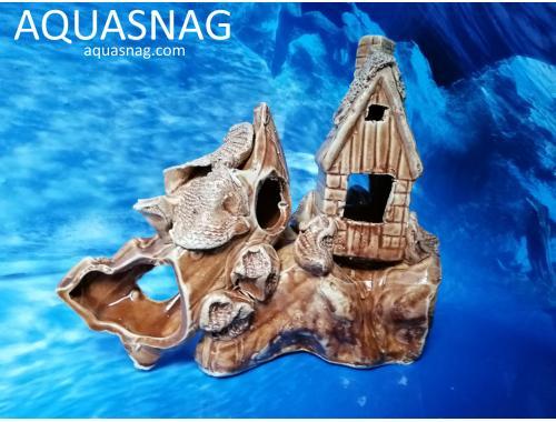 Фото Кораблик с домиком на скале,  дл 21.5см, шир 10см, выс 17см Смотреть
