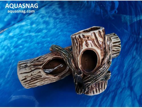 Фото Коряга двойная,  дл  22.5см, шир 13см, выс 13см, коричневая aquasnag.com