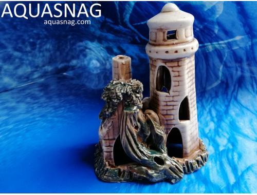 Фото Маяк с домиком,  дл 12.5см, шир 8см, выс 15.5см, коричневый aquasnag.com