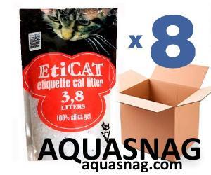 Наполнитель силикагелевый для кошачьего туалета Eticat 3.8Lx8 шт (30,4л)