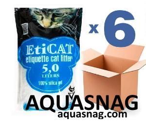Наполнитель силикагелевый  для кошачьего туалета Eticat 5,0Lx6 шт (30 л)