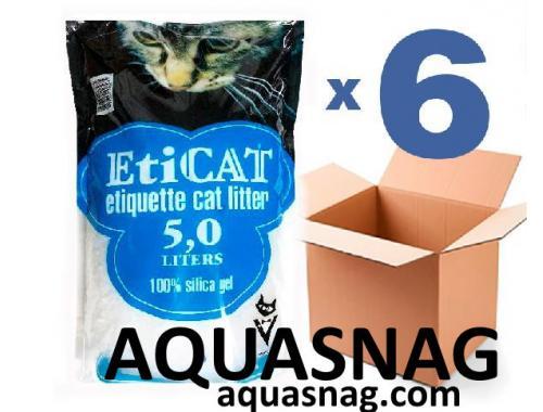 Фото Наполнитель силикагелевый  для кошачьего туалета Eticat 5,0Lx6 шт (30 л) aquasnag.com