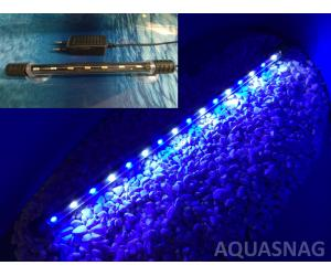 Подводная светодиодная лампа 28.5см, голубая с белым, 30 LED