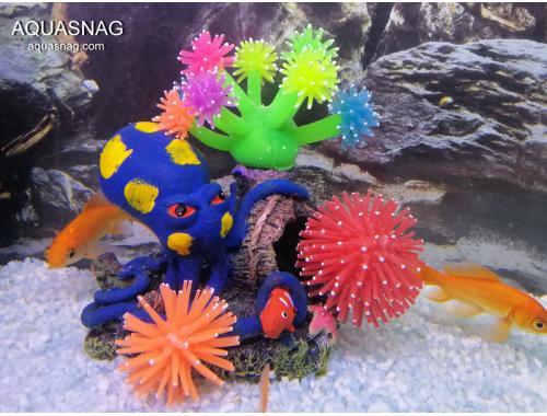 Фото Скала осьминог с актиниями силиконовыми актиниями RT-615 aquasnag.com