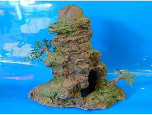 Фото Скала с деревцами KD--042, дл 22см, шир 9,5см, выс 20см aquasnag.com