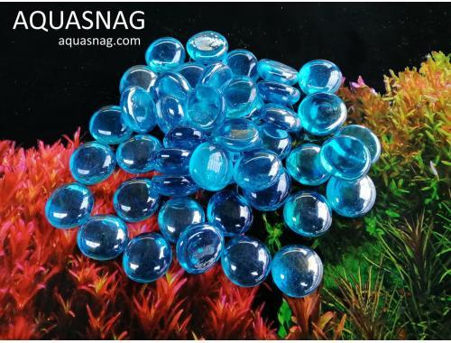 Фото Стеклянные камушки марблс, голубые, 1кг Смотреть