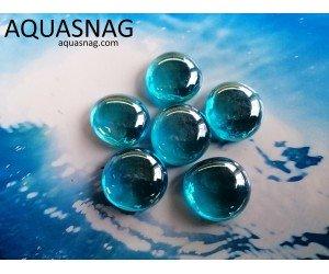 Стеклянные камушки марблс, голубые, набор из 7шт