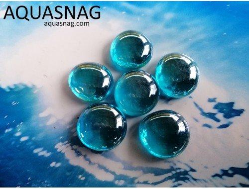 Фото Стеклянные камушки марблс, голубые, набор из 7шт Купить