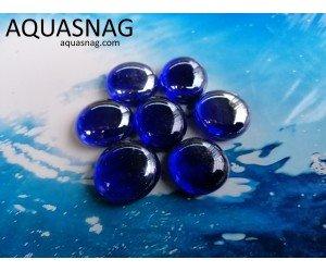 Стеклянные камушки марблс, темно синие, набор из 7шт