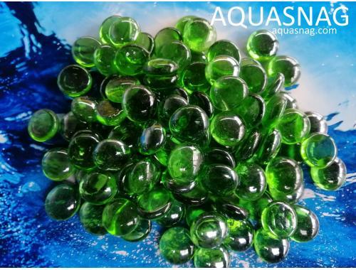 Фото Стеклянные камушки марблс, зеленые, 1кг aquasnag.com