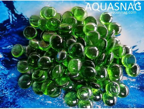 Фото Стеклянные камушки марблс, зеленые, 500г Смотреть
