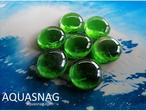 Фото Стеклянные камушки марблс, зеленые, набор из 7шт Купить