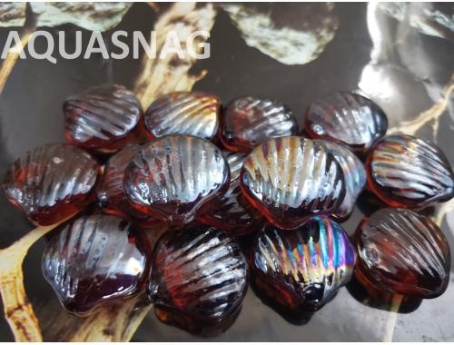 Фото Стеклянные камушки ракушка, темно коричневые, 100г,  8шт,  (2.7*2.8)см aquasnag.com