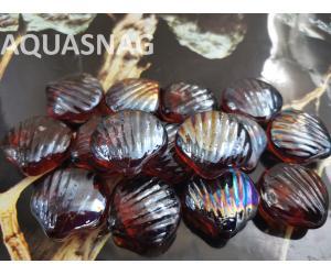Стеклянные камушки ракушка, темно коричневые, 250г, около 20шт