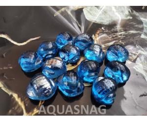 Стеклянные камушки улитка, синие 100г,  6шт