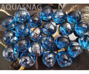 Стеклянные камушки улитка, синие  250г, около 14шт