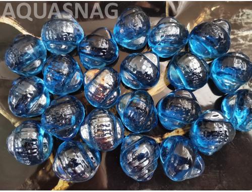 Фото Стеклянные камушки улитка, синие  250г, около 14шт Смотреть