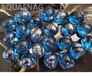 Стеклянные камушки улитка, синие 500г, около 29шт